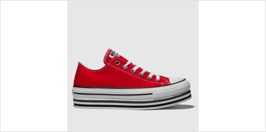 Converse Red All Star Platform Layer Ox Womens Trainers from Schuh