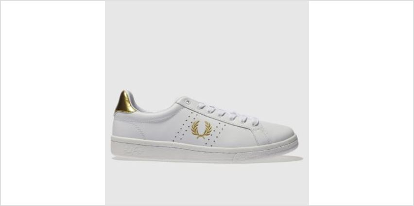 Fred Perry White & Gold B721 Leather Womens Trainers from Schuh