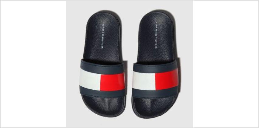 Tommy Hilfiger Navy & White Flag Pool Slide Unisex Junior from Schuh