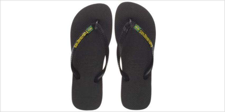 Havaianas Black Brasil Logo Mens Sandals from Schuh