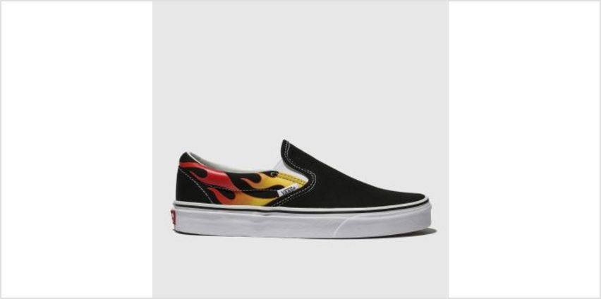 Vans Black & Red Classic Slip-On Flame Mens Trainers from Schuh