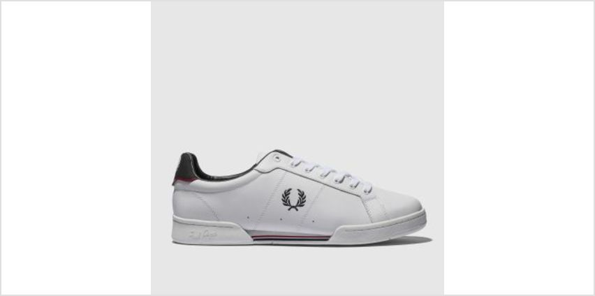 Fred Perry White & Navy B7222 Leather Mens Trainers from Schuh