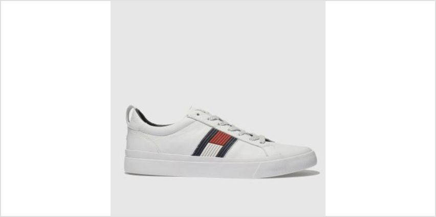 Tommy Hilfiger White & Navy Flag Detail Sneaker Mens Trainers from Schuh