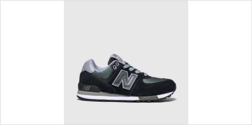 New Balance Black & Green 574 Boys Junior from Schuh
