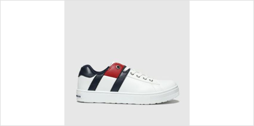 Tommy Hilfiger White & Navy Lace Up Sneaker Boys Junior from Schuh