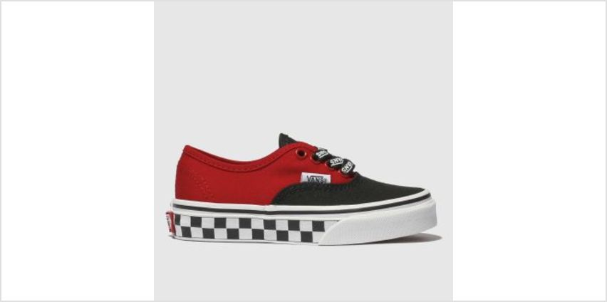 Vans Black & Red Authentic Logo Pop Boys Junior from Schuh
