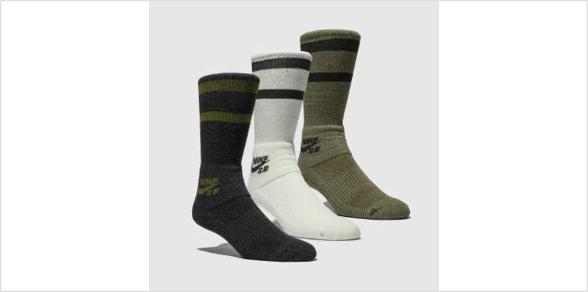 Nike Sb Black & Green Crew 3 Pk Socks from Schuh