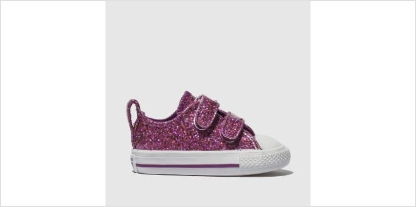 Converse Purple All Star Ox 2V Glitter Girls Toddler from Schuh