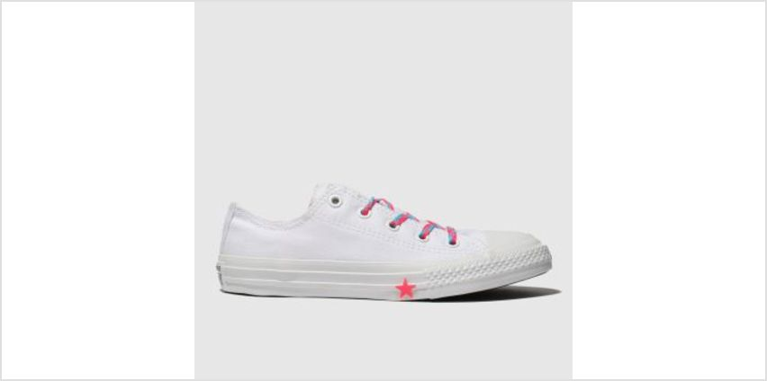 Converse White & Pink Chuck Taylor All Star Lo Girls Junior from Schuh