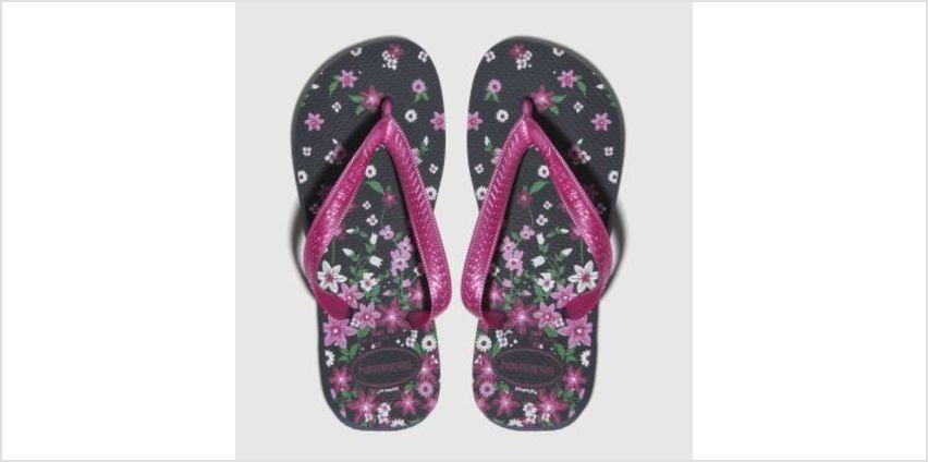Havaianas Black & pink Kids Flores Girls Junior from Schuh