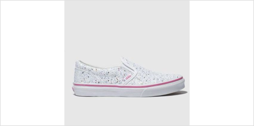 Vans White & Silver Classic Slip-On Girls Youth from Schuh
