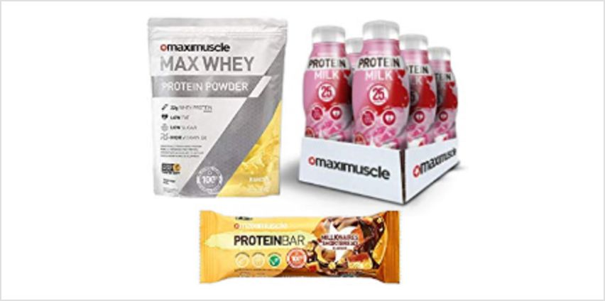 Up to 20% off Maximuscle Protein Bars, Max Whey and more from Amazon