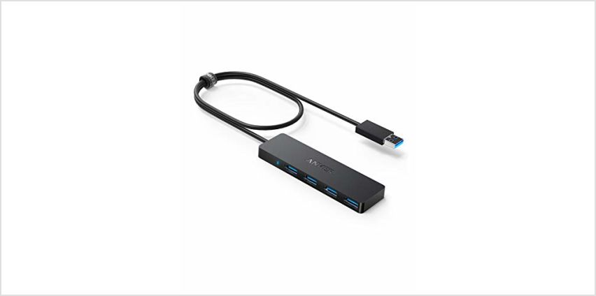 Anker 4-Port USB 3.0 Hub, Ultra-Slim Data USB Hub with 2 ft Extended Cable [Charging Not Supported], for MacBook, Mac Pro, Mac mini, iMac, Surface Pro, XPS, PC, Flash Drive, Mobile HDD from Amazon