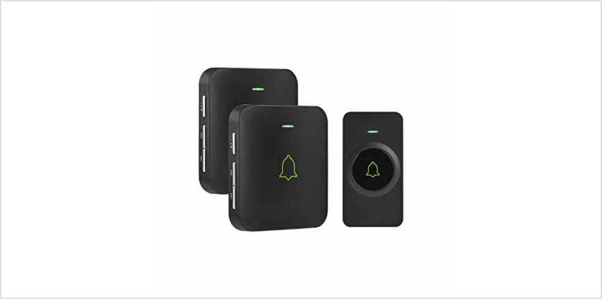 Wireless Doorbell, AVANTEK Mini IP55 Waterpoof Doorbell Chime Operating at 1000 Feet with 52 Melodies from Amazon