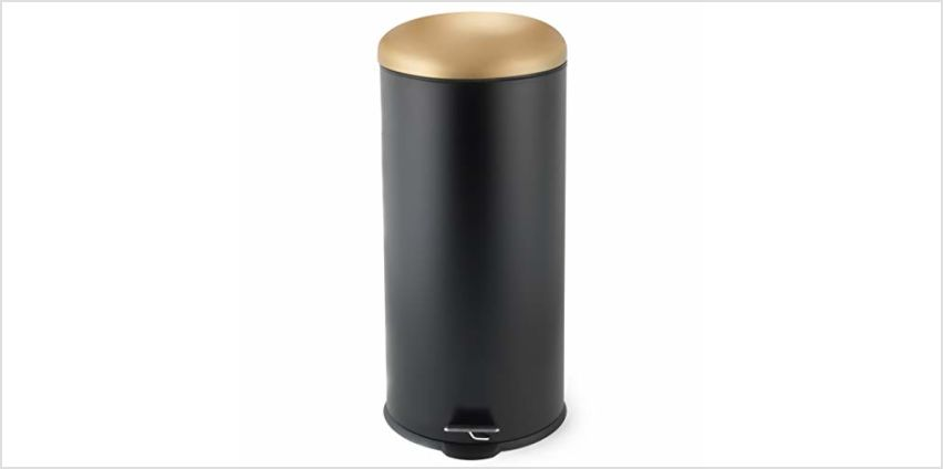 Salter BW07612 Dome Pedal Bin, 30 Litre Black/Gold, 30L from Amazon