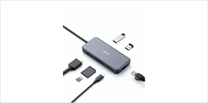 Anker USB C Hub, PowerExpand+ 7-in-1 USB C Adapter, with 4K HDMI, 60W Power Delivery, 1Gbps Ethernet, 2 USB 3.0 Ports and SD/microSD Card Readers, for MacBook Pro 2019/2018/2017/2016, Chromebook, XPS from Amazon