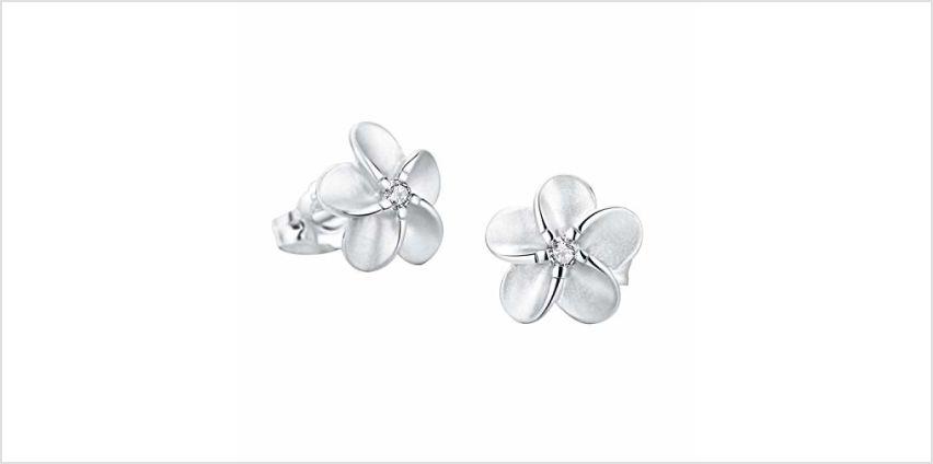 SILVERAGE Stud Earring Sterling Silver Flower Earrings For Women With AAA Cubic Zirconia (14mm(0.55in)) from Amazon