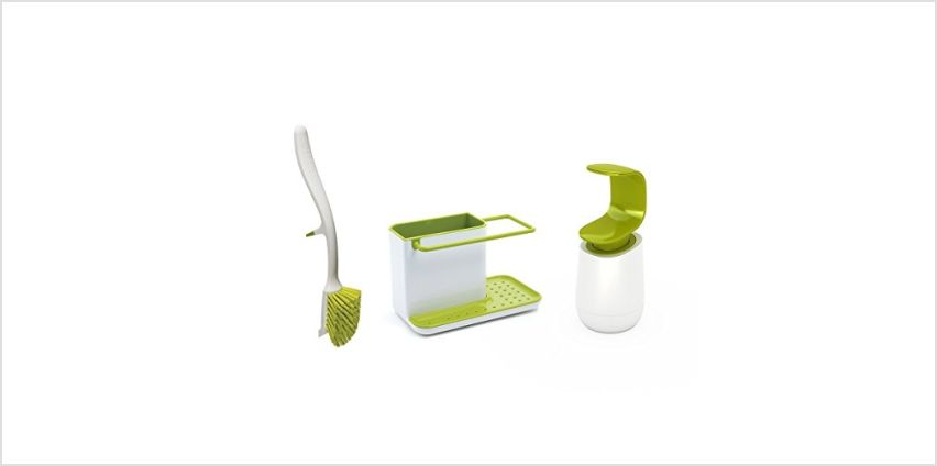 Save on Joseph Joseph Kitchen Sink Set with Caddy and Edge Dish Brush and C-Pump, White/Green, 12 x 31 x 20 cm and more from Amazon