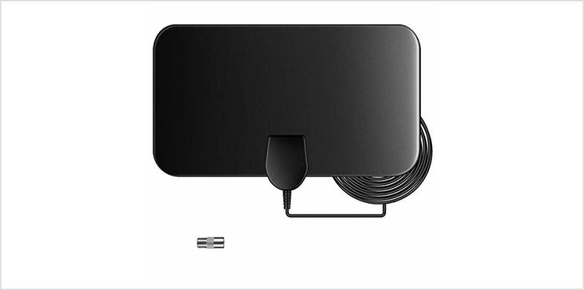 Indoor TV Aerial, 50 Miles Digital HDTV Antenna Freeview 4K 1080P HD FM VHF UHF Window Aerial for Local Channels Support ALL Television-13ft Coax Cable, without Amplifier from Amazon