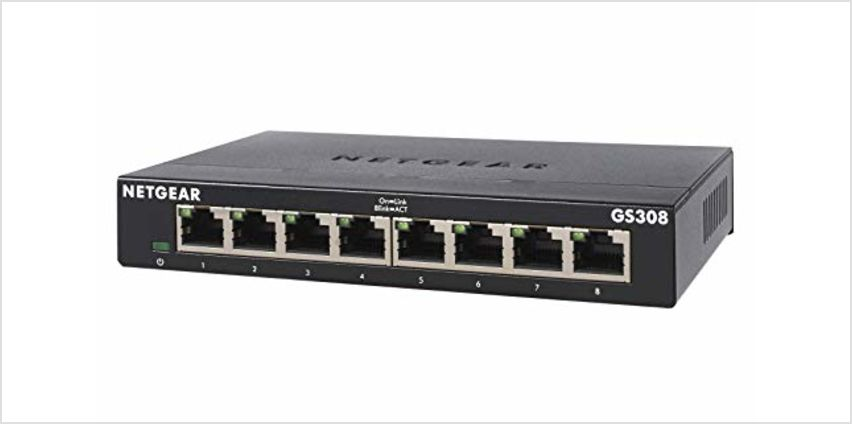 Save on NETGEAR 8-Port Gigabit Ethernet Unmanaged Switch, Desktop, Internet Splitter, Sturdy Metal, Fanless, Plug and Play (GS308) and more from Amazon
