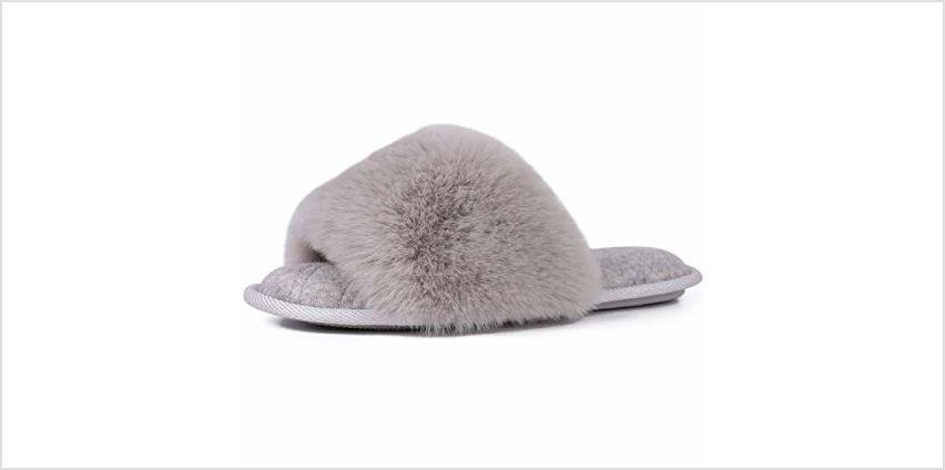 LongBay Ladies' Fluffy Faux Fur Open Toe Memory Foam House Slipper Cute Comfy Flat Cozy House Shoes from Amazon