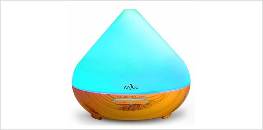 Anjou Essential Oils Diffuser, 300ml Aromatherapy Diffusers Ultrasonic Aroma Humidifier with Cool Mist Waterless Auto Shut-Off, 4 Timer Settings, 7 Color LED Lights from Amazon
