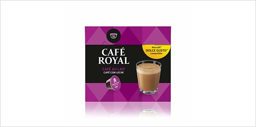 Save on Café Royal Café Au Lait Coffee Pods Compatible with The Nescafé Dolce Gusto System, 158 g, Pack of 3, 48-Count and more from Amazon