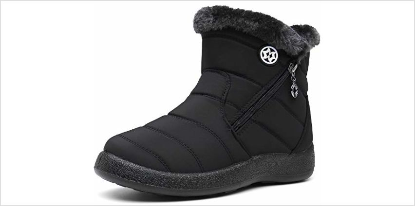 Gaatpot Women Winter Warm Snow Boots Ladies Slip On Water-Resistant Outdoor Fur Lined Ankle Booties Shoes Size 3-9 from Amazon