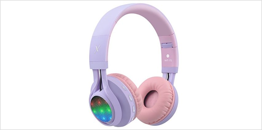 Riwbox WT-7S Bluetooth Headphones, LED Light Up Foldable Stereo wireless Headphones with Microphone and Volume Control for PC/iPhone/TV/iPad from Amazon