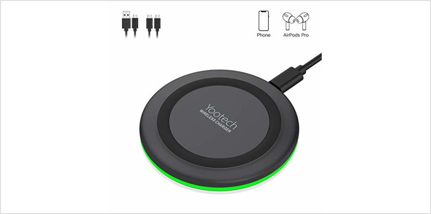 yootech Wireless Charger, 10W Max Qi-Certified Fast Wireless Charging Compatible with iPhone 11/11 Pro/11 Pro Max/XS MAX/XR/XS/X/8 Plus,Galaxy Note 10/S10/S10 Plus/S10E/S9, AirPods Pro(No AC Adapter) from Amazon