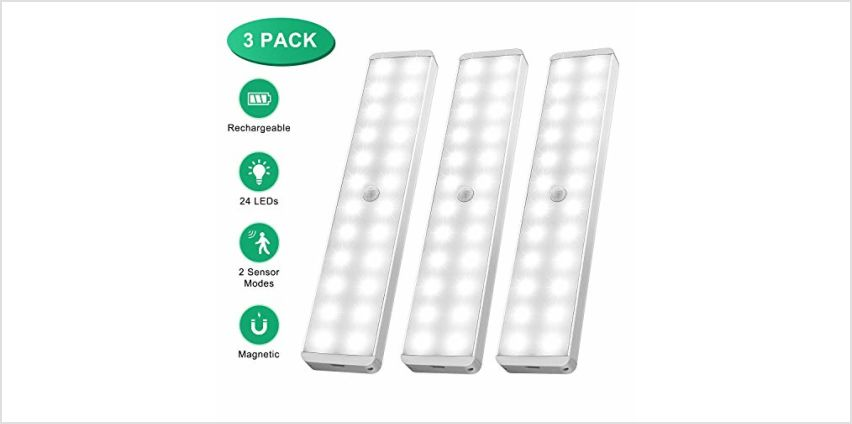 Wireless Under Cabinet Lighting, 3 Pack Motion Sensor Cupboard Night Light, USB Rechargeable Battery Powered Light with 24 LED, Magnetic Strip Stick-On Wardrobe, Closet, Cabinet, Kitchen, Stairs, etc from Amazon
