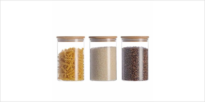 High Borosilicate Glass Cylinder Airtight Food Storage Container Canister Jar with Bamboo Lid & Silicone Sealing Ring Set of 3 from Amazon