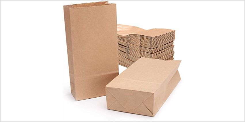 Brown Kraft Paper Bag,Vintage Flat Block Bottom Recycled Storage Bag Packaging DIY Gift Bags for Christmas/Wedding/Birthday Party/Markets/Cafes/Take Away outlets from Amazon