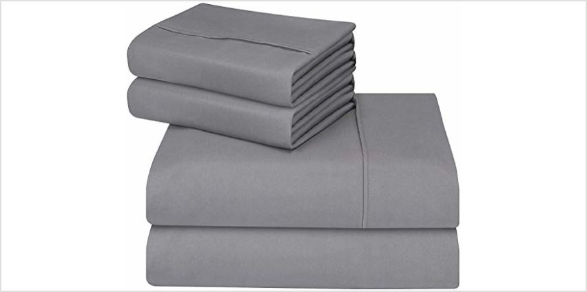 Utopia Bedding 4 Piece Bed Sheet Set - Brushed Microfibre Flat Sheet, Fitted Sheet with Pillowcases from Amazon