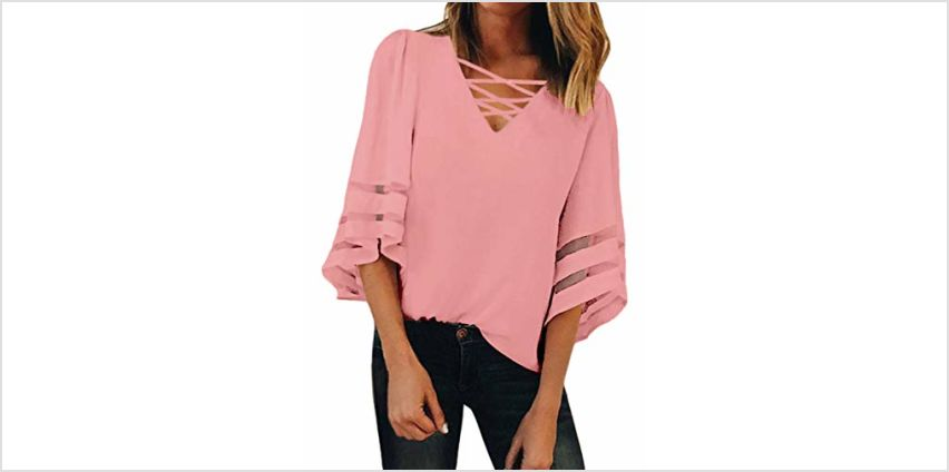 GOSOPIN Women V Neck Tops Loose 3/4 Bell Sleeves Blouse Solid Color Lace Patchwork Tees from Amazon