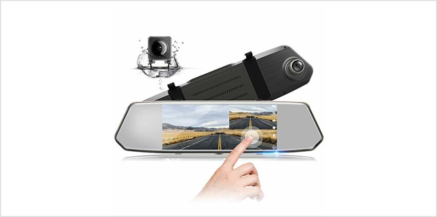 TOGUARD Mirror Dash Cam 1080P Dual Lens 7 Inch IPS Touch Screen, Dash Cam Front and Rear View Waterproof Backup Camera 170°Wide Angle with G-sensor Parking Monitor Motion Detection from Amazon