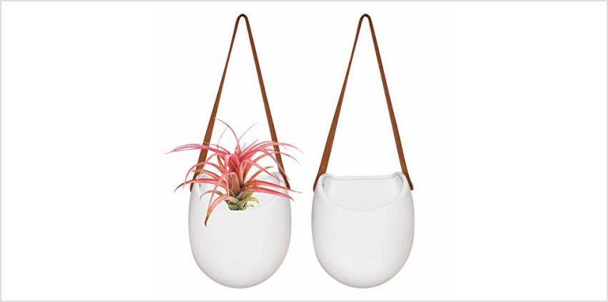 La Jolíe Muse Wall Planter-Hanging Ceramic Planter Pots Set 2 for Indoor Outdoor Home Garden Herb from Amazon