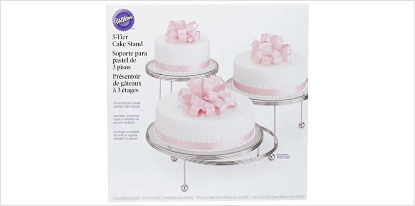 Wilton Cake Display Stand, Cakes 'N More, 3 Tier, Chrome, from 10cm (4in) to 19.6cm (7.75in) from Amazon