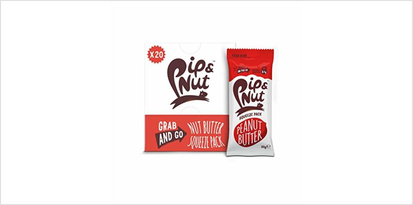 Save on Pip & Nut Smooth Peanut Butter Squeeze Packs – 20 x 30g -  Absolutely No Palm Oil, Hi-Oleic Argentinian Peanuts, High in Fibre, Vegan Friendly and more from Amazon