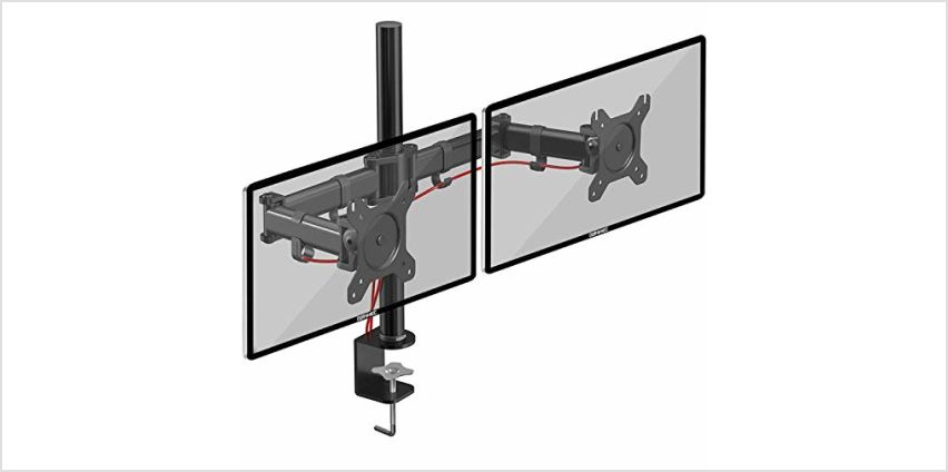 Duronic Monitor Arm Stand DM254 | Quad PC Desk Mount | Steel | Height Adjustable | For Four 13-27 LED LCD Screens | VESA 75/100 | 8kg Per Screen | Tilt -90°/+45°,Swivel 180°,Rotate 360° from Amazon
