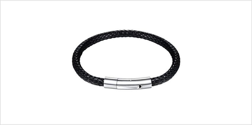PROSTEEL Engraved, Men Water-Proof Wax Rope Braided Leather Bracelet with Clasp 316L Stainless Steel, 5mm Wide, 18/20/22CM, Black/Brown (with Gift Box, Velvet Pouch) from Amazon
