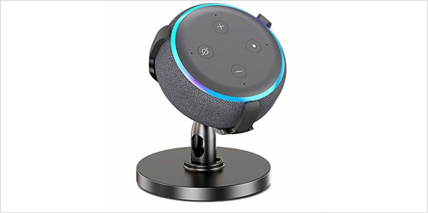 Bovon Table Holder for Echo Dot 3rd Generation, 360° Adjustable Stand Bracket Mount for Smart Home Speaker, Improves Sound Visibility and Appearance, Dot Accessories (Black) from Amazon