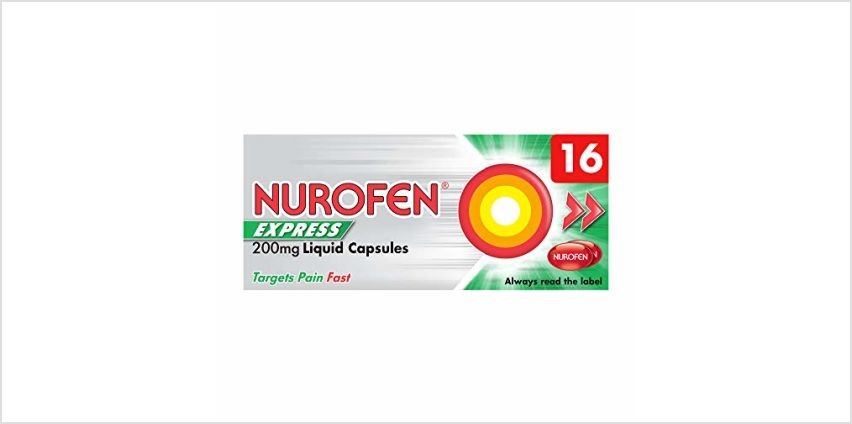 Save on Nurofen Express Liquid Capsules Ibuprofen, 200 mg, Pack of 16 and more from Amazon