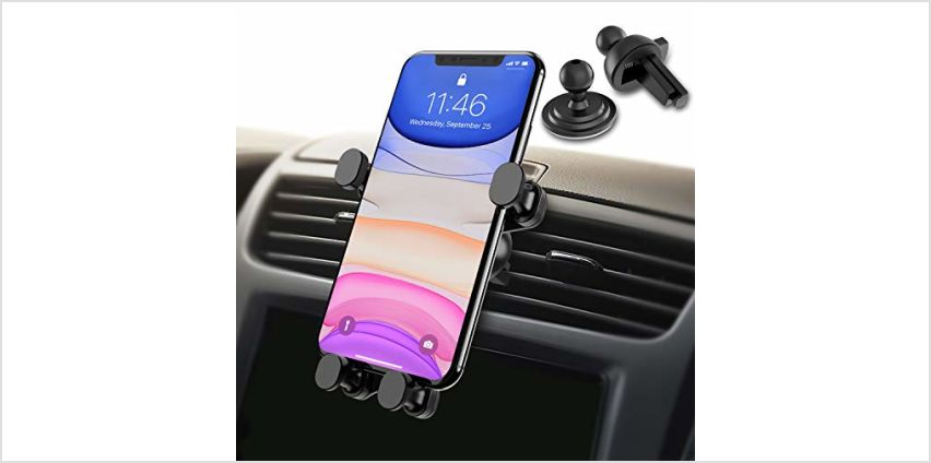 Syncwire Car Phone Holder - Gravity Linkage Mobile Phone Holder Auto Lock 360° Rotation Universal Air Vent Car Cradle Phone Mount for iPhone X/ 8/7/ 6 Samsung S10 S9 HTC Sony Huawei P30 and Others from Amazon