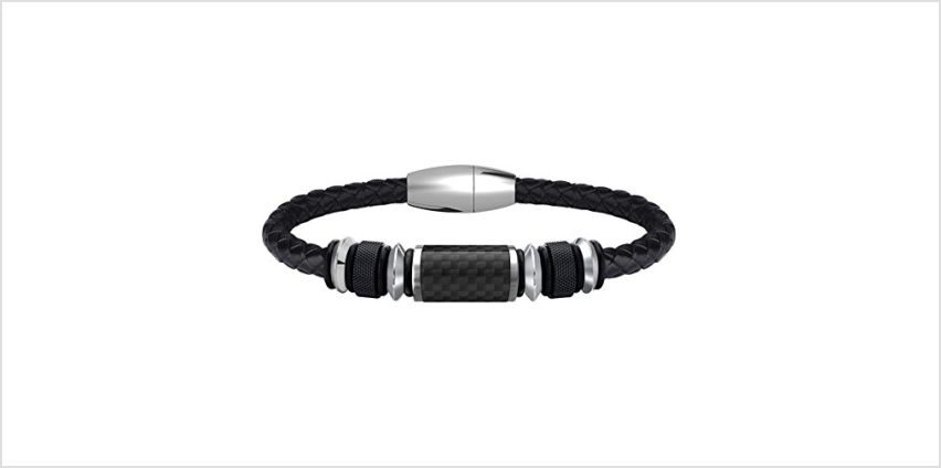 COOLMAN Leather Bracelet for Men Stainless Steel Braided Cuff Bracelet with Carbon Fiber Bead Magnetic Clasp 8.5 inch (Black) from Amazon
