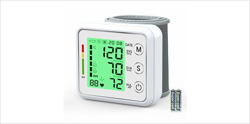 Wrist Blood Pressure Monitor for Home,Oudekay Digital Automatic Measure Blood Pressure with Heart Rate Pulse Detection,Large 3 Color Backlight LCD Display 2 User Mode with 198 Memory Capacity from Amazon