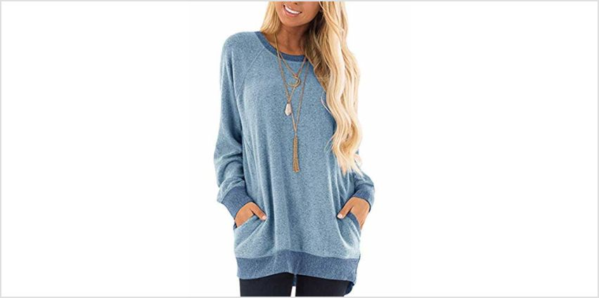 iChunhua Casual Women's Long Sleeve Crewneck T Shirt Sweatshirt Tops with Pockets S-XXL (Sky LUE, XX-L) from Amazon