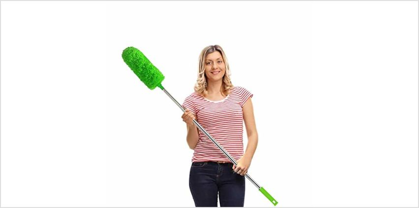 "Feather Duster,Duster Extendable for Cleaning with Telescoping Extension Pole 30 to 100"" Extendable Duster for Cleaning High Ceiling Fan,Blinds, Baseboards,Cars from Amazon"