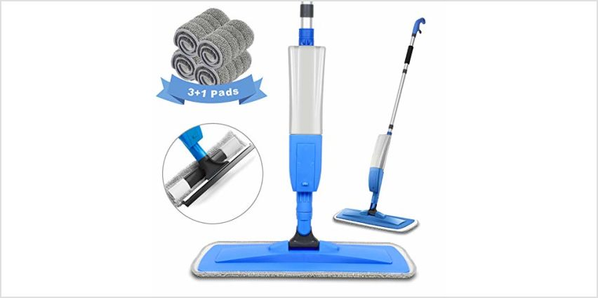 Spary Mop,Microfiber Mop with 4 Reusable Pads and 450ML Bottle, 360 Degree Spin Mop Suitable for Hardwood, Marble, Tile from Amazon