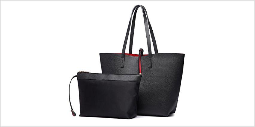 Miss Lulu Women Reversible Tote Bag Faux Leather Shoulder Handbag Large Shopper Set (Grey) from Amazon